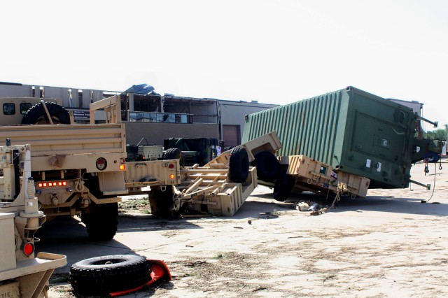 U.S. Army equipment lies in pieces on Fort Bragg, N.C., April 18, 2011, after numerous tornadoes slammed the area April 16.