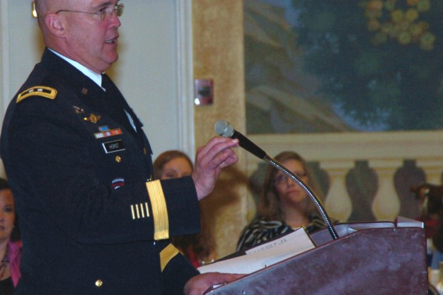 Maj. Gen. Karl R. Horst, the Joint Force Headquarters National Capital Region and U.S. Army Military District of Washington commanding general speaks at the Metropolitan Washington USO luncheon honoring volunteers, April 16.  During the luncheon it was announced that Army Sgt. 1st Class Latrish Thomas was the winner of the 2011 C. Haskell Small Award for Volunteerism.