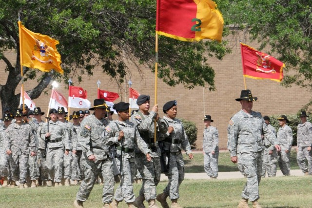 FORT HOOD, Texas - Soldiers, led by Col. John Peeler (far right), commander of the 2nd Brigade Combat Team, 1st Cavalry Division, march onto Cooper Field before the start of the 1st Cav. Div. Color Casing Ceremony on Fort Hood, Texas, April 15.