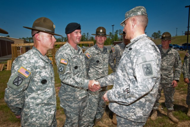 Sgt. Maj. of the Army Raymond F. Chandler III made his first visit to Fort Benning, Ga., Saturday. He spoke with drill sergeants and observed the Best Ranger Competition