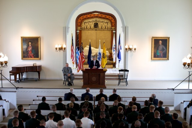 Secretary of the Army John McHugh speaks to cadets Tuesday, at Lee Chapel on the campus of Washington and Lee University, in Virginia.