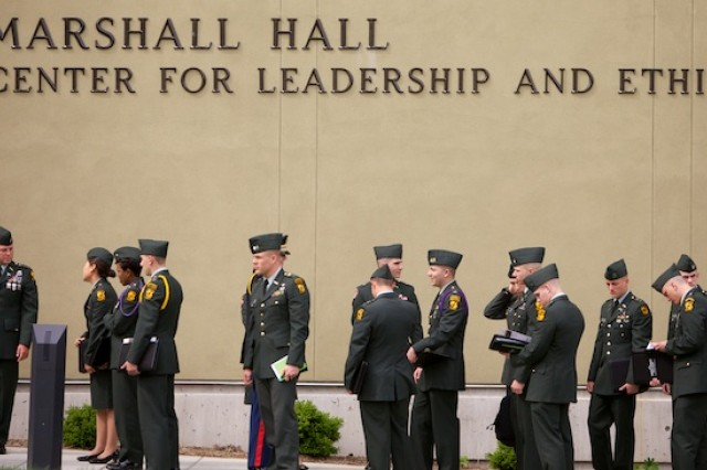 Army ROTC Cadets stand in line waiting to enter the opening ceremony of the George C. Marshall Awards and Leadership Seminar.