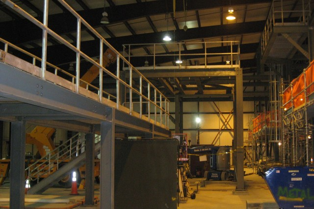 Progress on interior lighting and piping rack installations can be seen inside the Utility Building. Once complete, the Utility Building will house equipment to produce steam, compressed air, chilled water and hot water for operations.