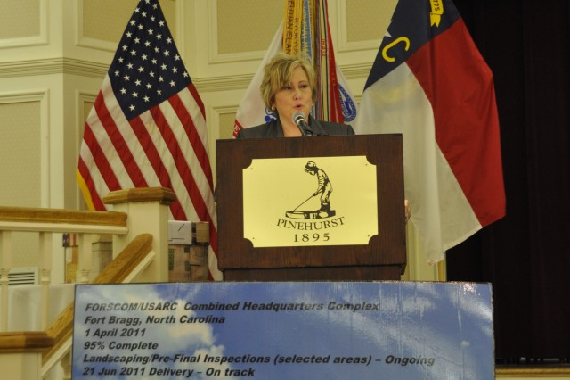 FORSCOM is advertising in the area and filling jobs as soon as possible whenever a current civilian employee decides not to make the move from Fort McPherson in Atlanta to Fort Bragg, N.C., FORSCOM Forward Officer in Charge Ronna Garrett told NCDBA Symposium and Exposition attendees.