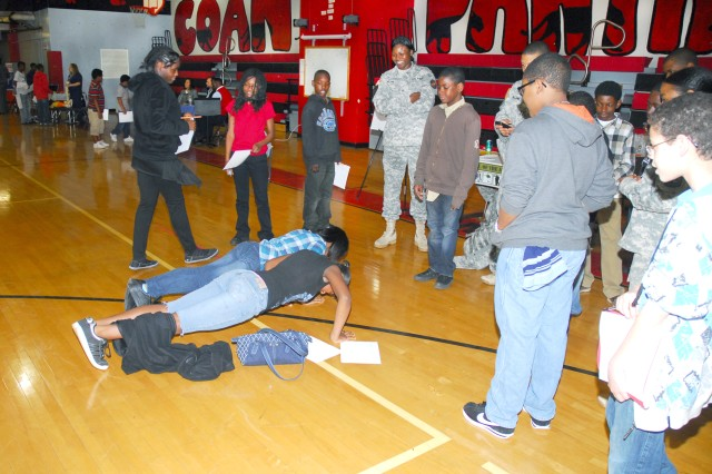 Students get familiar with another aspect of Soldiering: pushups.