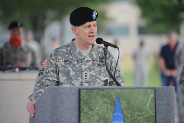 Lt. Gen. Don Campbell Jr. introduces himself to the Fort Hood community as the new commanding general of III Corps and Fort Hood. He assumed command from Lt. Gen. Bob Cone during a change of command ceremony at Fort Hood, Texas, April 21, 2011.