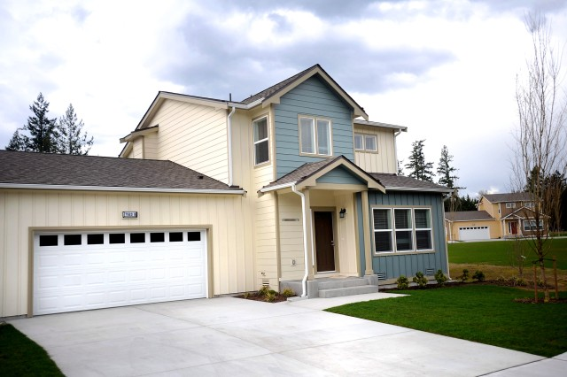 The McChord Field Cascade Village housing complex, located just inside the Housing Gate, is home to 26 families so far, with 36 units still under construction and scheduled for completion by the end of 2011.