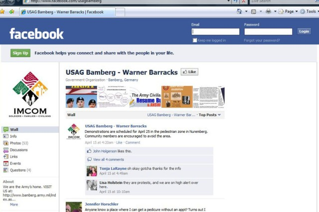 This is a screen capture of the U.S. Army Garrison Bamberg - Warner Barracks Facebook account.  Commands and Soldiers are embracing social media more than ever before.