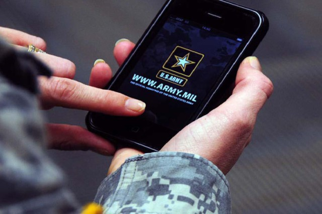 A Soldier accesses the Army.mil mobile application.