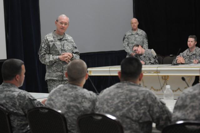 The 37th Chief of Staff of the Army, Gen. Martin E. Dempsey speaks to Soldiers during a town hall meeting in Al Faw Palace, Camp Victory, Iraq April 19. This is Dempsey's first stop during his visit to the region.