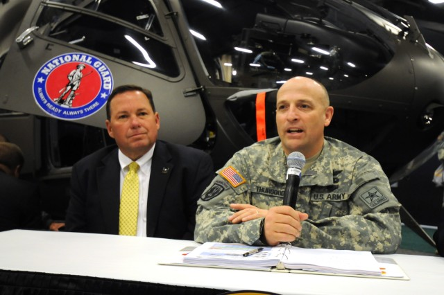 Gregory Gore and Col. John Thurgood spoke April 20, 2011, at a press conference regarding the Lakota program during the 2011 Army Aviation Association of America's Annual Professional Forum and Exposition in Nashville, Tenn.