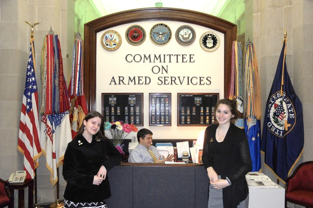 Vilseck High School students Meraleigh Randle and Thea Dunn visited with Senate and House Armed Services Committee staffs during their Capitol Hill visits, March 10, 2011.