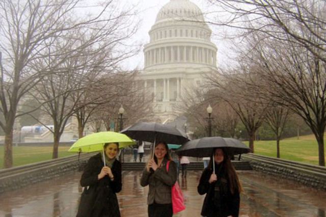 "European Parent Teacher Association representatives, Vilseck High School 12th-grader Thea Dunn, European Parent Teacher Association president Shannon Sevier and Vilseck High School 9th-grader Meraleigh Randle spent March 10, 2011, navigating Capitol Hill while advocating for military children who are students in Department of Defense Dependant Schools-Europe.  The EPTA delegation spent a week in Washington D.C. as a part of the National PTA ""Hill Week."""