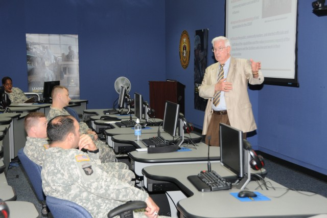 """Retired Maj. Gen. George Goldsmith, now a U.S. Army Reserve Ambassador for the state of South Carolina, speaks to the students of USAREC's Company Commander Course # 005-11.  81st RSC Ambassador Coordinator Marty Wells and Ambassador Goldsmith informed the students about the Army Reserve Ambassador Program during an April 21 briefing at Fort Jackson, S.C."""""""