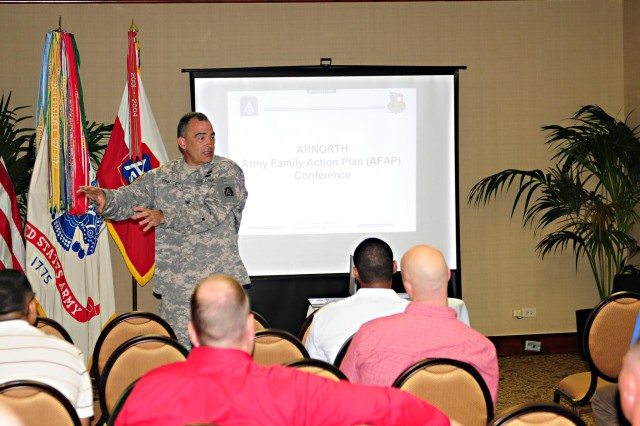 SAN ANTONIO - Col. Richard Francey, chief of staff, U.S. Army North, emphasizes the importance of the command's resolve to help Soldiers and their families April 18 during the Army North Army Family Action Plan Conference in downtown San Antonio.