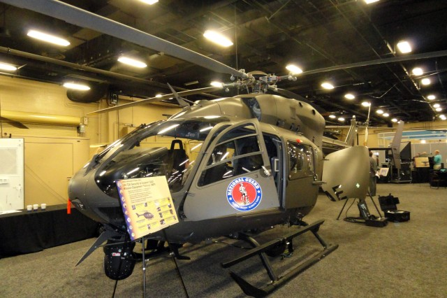 The security and safety mission equipment package aboard the UH-72A Lakota light utility helicopter includes an electro-optical/infrared sensor, enhanced cockpit screens, high power illuminator system, analog-digital data downlink capability and GPS-enhanced moving map displays.