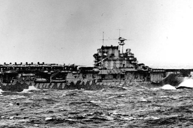 USS Hornet launches a B-25 Mitchell bomber during the Doolittle Raid 69 years ago in April 1942.