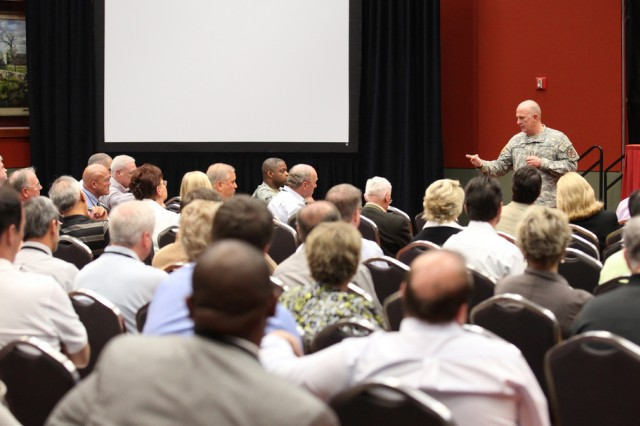 Lt. Gen. Rick Lynch, commanding general of the Installation Management Command, addresses a room of Family and MWR directors at the 2011 Installation Management Command Symposium in San Antonio, Texas. (U.S. Army photo)