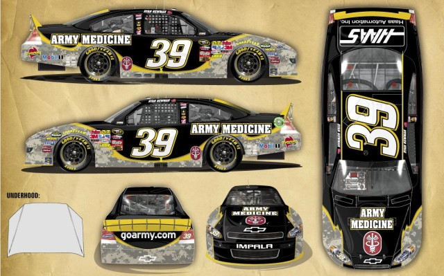 Ryan Newman's car with medical personnel tribute color scheme