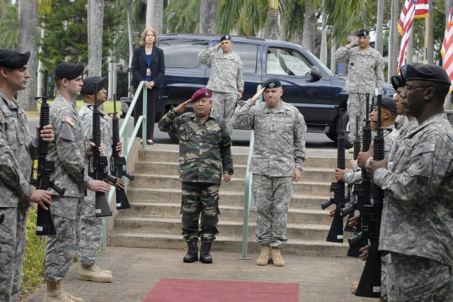 U.S. Army Pacific held a Welcome ceremony for Gen. Dato\' Sri Zulkifeli Bin Mohd Zin, Chief of Army, Malaysia. Zulkifeli and Lt. Gen. Francis R. Wiercinski commander of USARPAC salute during the playing of ruffles and flourishes April 25 at Fort Shafter, Hawaii.