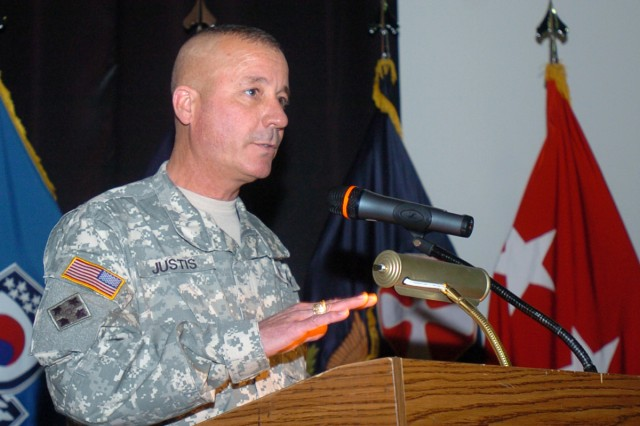 Command Sgt. Maj. John C. Justis, command sergeant mahor for Yongsan Garrison, speaks at the induction ceremony April 27.