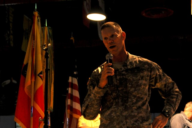 "Colonel Timothy R. Collins, deputy chief of staff, U.S. Army Reserve Command makes opening remarks at the 6th Annual Warriors on the Water Icebreaker Gathering, April 27, 2011 at Fort Bragg, N.C. More than 400 sponsors, professional and amateur bass anglers, boaters and servicemember ""co-anglers"" were in attendance at the opening ceremony for this year's event which culminates on April 29, with a fishing tournament at Jordan Lake, N.C. More than 150 donated boats are expected to be on the waters for a full day of bass fishing."""