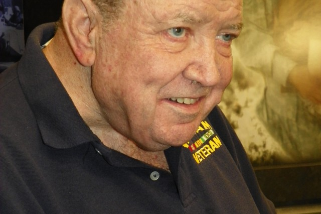 Retired Maj. John McCormick recalls his life in the Army during an interview in the Phantom Warrior Studio in the III Corps headquarters, April 7, 2011. The 72-year-old retired teacher from Corpus Christi came out of two combat tours as a hero. He came out of deep depression and suicidal ideations as an alcoholic. He came out of a substance abuse treatment center sober. He came to Fort Hood to share his story with Soldiers.