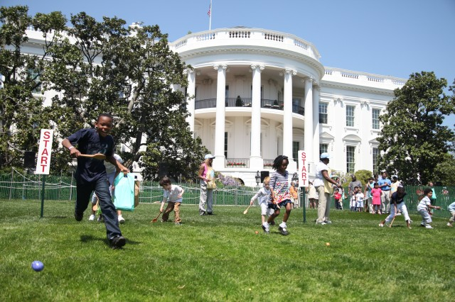 Fort Meade youth hunt for Easter eggs at the White House