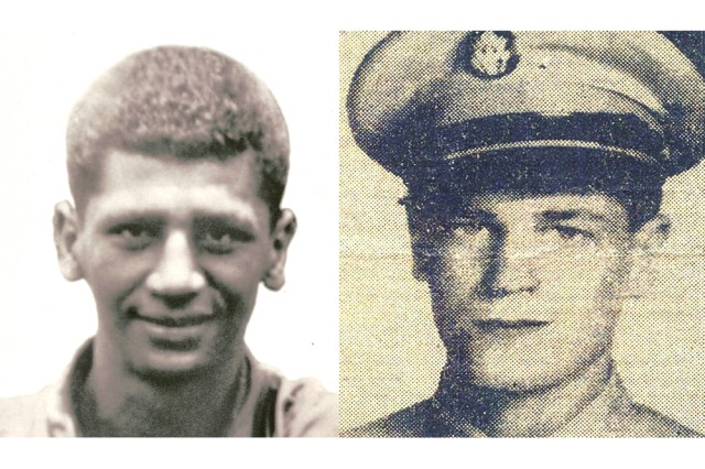 Korean War heroes Pfc. Anthony T. Kaho'ohanohano (left) and Pfc. Henry Svehla (right).