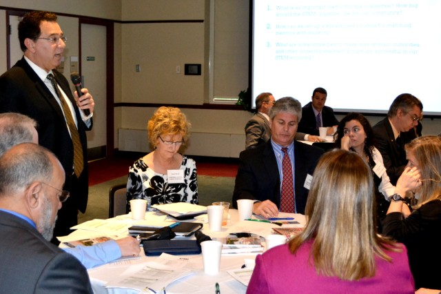 Robert Tomback, superintendent of Harford County Public Schools, addresses a question during STEM Summit II, the second in a series of meetings  striving to develop a regional culture attune to science, technology, engineering and mathematics career development.