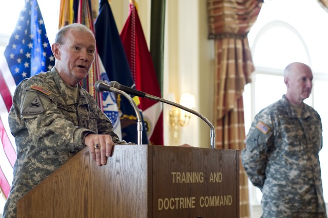 Gen. Martin E. Dempsey, Chief of Staff of the U.S. Army and former TRADOC commander, shared remarks during Gen. Robert W. Cone's promotion ceremony today at Fort Monroe, Va. (U.S. Army photo by Sgt. Angelica Golindano)(RELEASED)