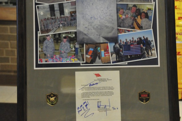 The photo collage sent to Mackenzie Frost was on display at Hawthorne Elementary School April 19.