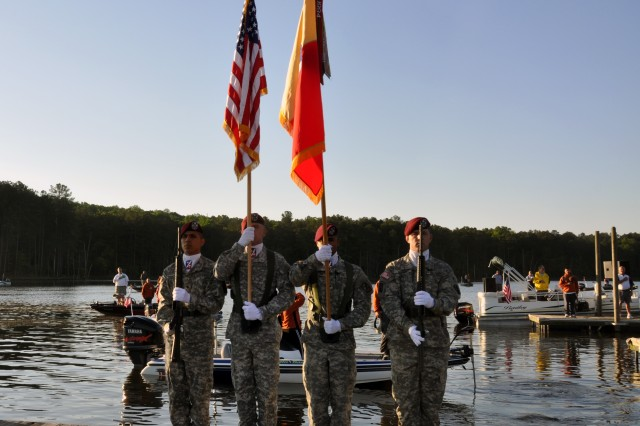 """The 82nd Sustainment Brigade Color Guard presents the colors during the opening ceremony for the 6th Annual """"Warriors on the Water"""" Bass Tournament, April 29, 2011 at Jordan Lake, N.C. The brigade provides logistical support to the 82nd Airborne Division at Fort Bragg, N.C., and to other units, as required, when deployed in support of combatant commanders - at home and abroad."""