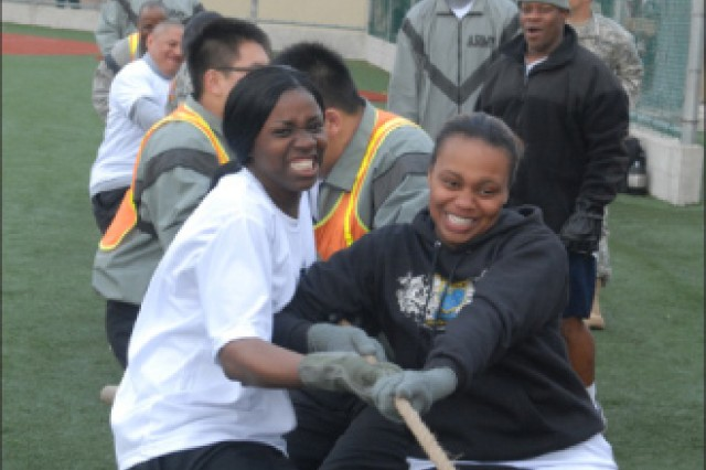 Team 19 members pull together in a tug of war match at the 2011 KATUSA Friendship Week competition.