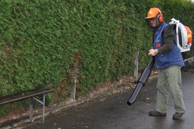 """Grounds maintenance workers at USAG Schinnen asked the Installation Safety Officer to research a new """"green"""" fuel for leaf blowers and other yard equipment that produces less harmful fumes."""
