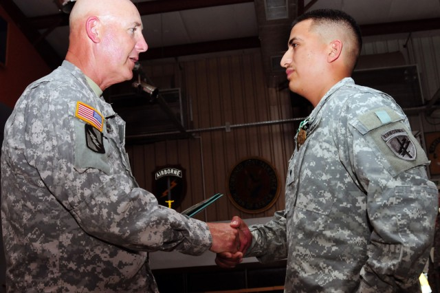 Soldier recognized for heroism while training in Uganda