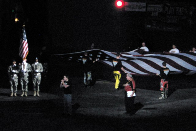 ASC Color Guard posts colors for Monster Truck Jam