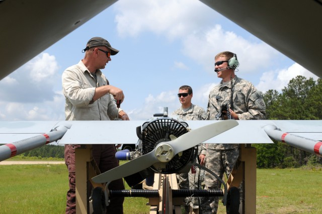 FORT BRAGG, N.C. -- Greg Dean (left), an Army civilian contractor and Shadow Platoon member, and Sgt. Thomas Caudill (right), crew chief for Shadow Platoon, Company B, 3rd Brigade Special Troops Battalion, 3rd Brigade Combat Team, 82nd Airborne Division, perform pre-flight checks on the RQ-7B Shadow unmanned aerial vehicle in preparation for launch, May 3, 2011, at Fort Bragg, N.C.