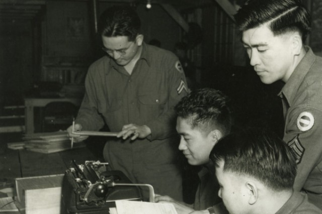 Asian-Pacific American Soldiers of the 100th Infantry Battalion train at Camp Shelby, Miss., in 1943.