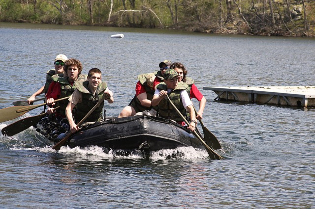 Troop 122 from New Paltz, N.Y., finishing the last leg of a raft race April 30 at the 49th annual West Point Camporee at Lake Frederick. This event was the largest event ever with more than 5,500 participants that included 220 scout troops from 27 different states; the furthest was Phoenix.
