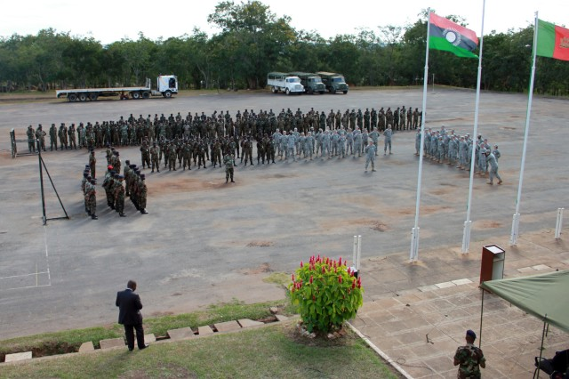 """Malawi Defence Force (MDF) and U.S. military servicemembers officially kicked-off exercise MEDREACH 11, May 3, with an opening ceremony at the Kamuzu Barracks. The program brought the MDF shoulder to shoulder with the United States military in a symbolic display of the unity that has been created between the two forces. Looking out at the joint formation of approximately 300 MDF and U.S. forces, Malawi Defence Force Commander Gen. Marko Chiziko said he appreciates the differences between the MDF and U.S. military and looks forward to the great exchange of information between the personnel working together in MEDREACH 11.  """"Both the U.S. Military and the MDF are renowned for their professionalism and for being accountable to their citizens,"""" said Chiziko.  """"This exercise is one of the positive steps to that noble goal and I wish to put that on the record.""""   MEDREACH 11 is a joint effort between the Malawi Defence Force and the United States military with an immediate focus on medical outreach to Malawi civilians, but an even greater focus on fostering a long-term relationship with the people of Malawi.  It is expected that both the MDF and the U.S. Armed Forces, consisting of U.S. Army and U.S. Air Force components, will learn valuable lessons from one another.  """"This day is the culmination of over a year and a half of discussions and planning by the Malawi Defence Force and the U.S. Africa Command,"""" said Craig Anderson, U.S. acting deputy ambassador to Malawi. """"I am very happy and very honored to be here today.""""   Expressing his pride in working the Malawi Defence Force and colleagues from the United States Department of Defense, Anderson directed his attention to the nearly 100 U.S. Soldiers and Airmen that traveled across the Atlantic Ocean to be a part of MEDREACH 11. """"That you are willing to do this is a testament to two of the attributes that mark us as Americans; the wiliness to help others and to stand by our friends,"""" Anderson said.  """"The MDF is one of our """