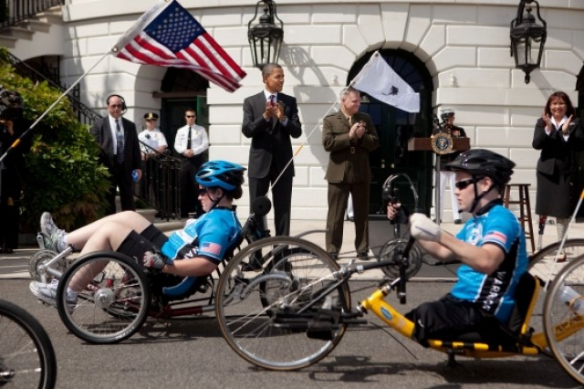 Obama greets Wounded Warrior Project bike riders
