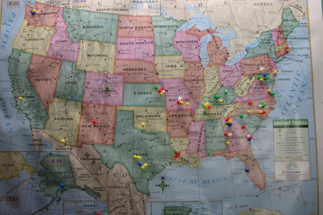 A map of the U.S. bears push pins showing where members of the Fort McPherson PWOC have been stationed. One of the goals of PWOC is to encourage women worldwide to grow spiritually within the body of Christ through prayer, studying God's word, worship and service.