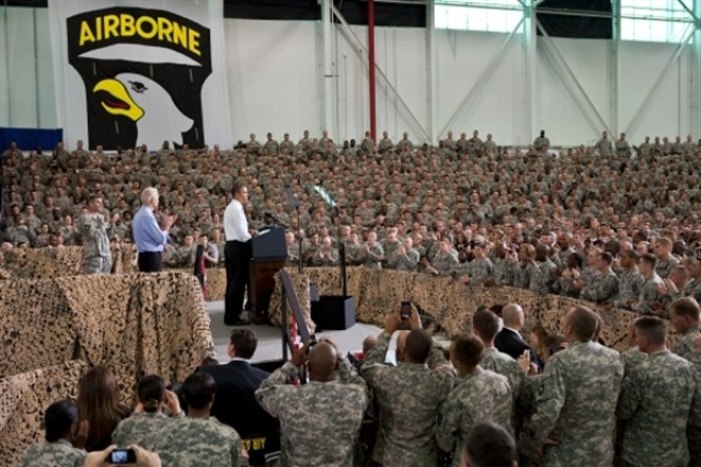 President Barack Obama delivers remarks to troops at Fort Campbell, Ky., May 6, 2011. Vice President Joe Biden stands at left. The skill and courage of countless American military and intelligence professionals is why Osama bin Laden can never threaten America again, Obama told the cheering group of 101st Airborne Division Soldiers.