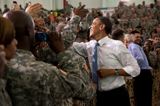 President Barack Obama and Vice President Joe Biden shake hands with the troops following the President's remarks at Fort Campbell, Ky., May 6, 2011.