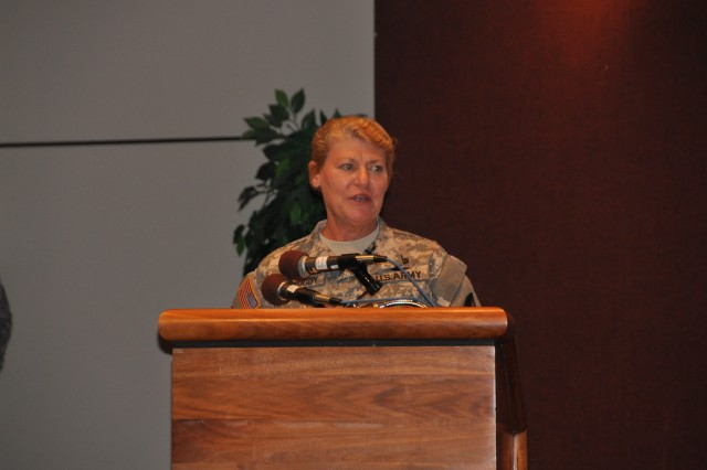 """Gen. Ann E. Dunwoody, AMC's commanding general presided over Pillsbury's ceremony. """"The things that people remember most about Jim you can't read in his file. What everyone will remember about Jim is his strong faith in God and his love for his wonderful family,"""" Dunwoody said. """"And those of us that served in uniform will also remember his passion for the welfare of our Soldiers."""" U.S. Army Photo By Cherish Washington, AMC Public Affairs."""