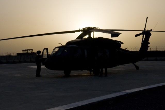 SPIN BOLDAK, Afghanistan- A UH-60 Black Hawk helicopter sits on the landing pad at Forward Operating Base Spin Boldak, Afghanistan, May 5, 2011. (Photo by Senior Airman Jessica Lockoski, 16th Mobile Public Affairs Detachment)