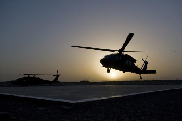 SPIN BOLDAK, Afghanistan- A UH-60 Black Hawk helicopter lands at Forward Operating Base Spin Boldak, Afghanistan, May 5, 2011. (Photo by Senior Airman Jessica Lockoski, 16th Mobile Public Affairs Detachment)