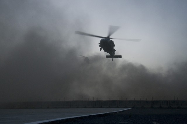 SPIN BOLDAK, Afghanistan-A UH-60 Black Hawk helicopter prepares to land at Forward Operating Base Spin Boldak, Afghanistan, May 5, 2011. (Photo by Senior Airman Jessica Lockoski, 16th Mobile Public Affairs Detachment)