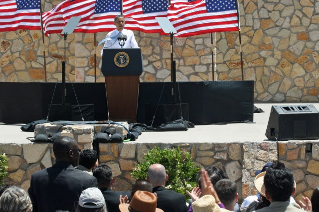 President Barack Obama speaks to the crowd about immigration issues and the contributions of naturalized citizens at Chamizal National Memorial in El Paso, Texas, May 10, 2011.